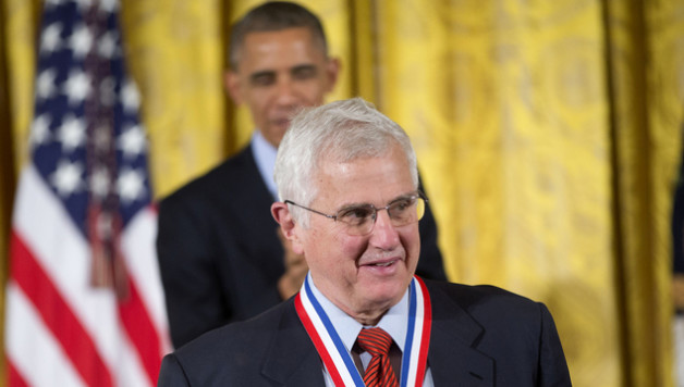 Bruce Alberts, from the University of California, San Francisco walks back to his seat after being awarded the National Medal of Science by President Barack Obama, Thursday, Nov. 20, 2014, during a ceremony in the East Room of the White House in Washington. The awards are the highest honor bestowed by the United States Government upon scientists, engineers, and inventors. (AP Photo/Pablo Martinez Monsivais)