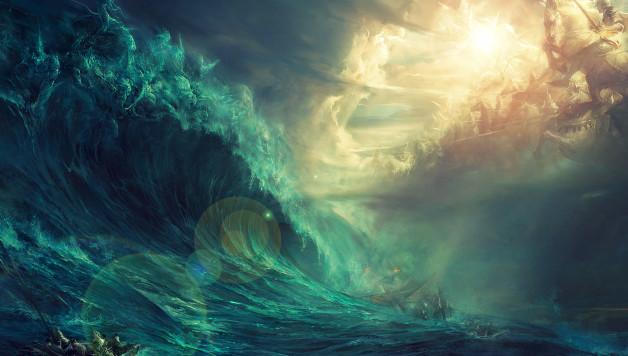 Céu e Mar se encontram como em uma batalha e neles podemos ver guerreiros elementais.