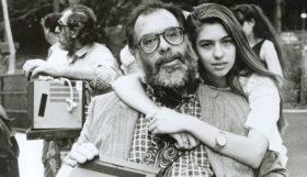 SOFIA COPPOLA, with her father FRANCIS FORD COPPOLA, during filming of `Life Without Zoe', which they co-wrote, c. 1988-89